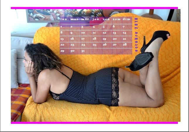 Calendrier Sexy 2018 femme noire en string